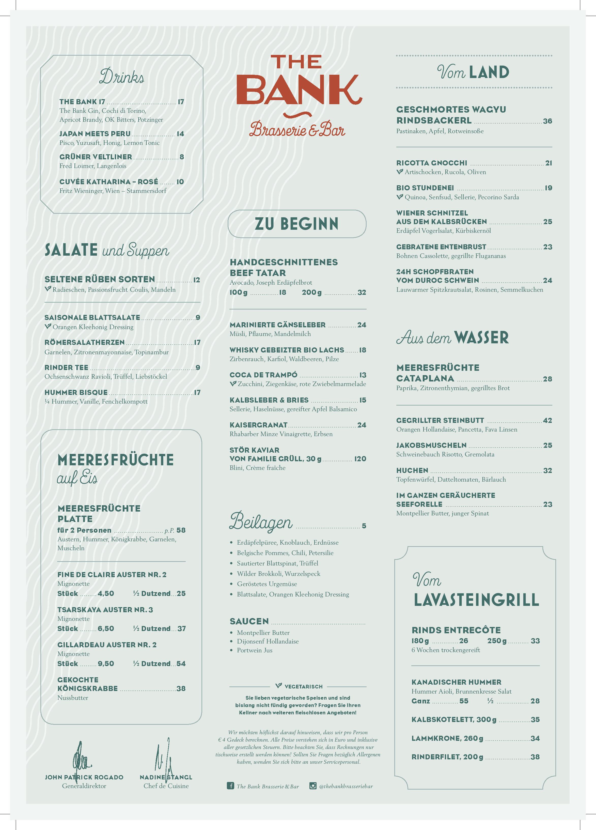 Speisekarte - Restaurant The Bank Brasserie Bar in Wien