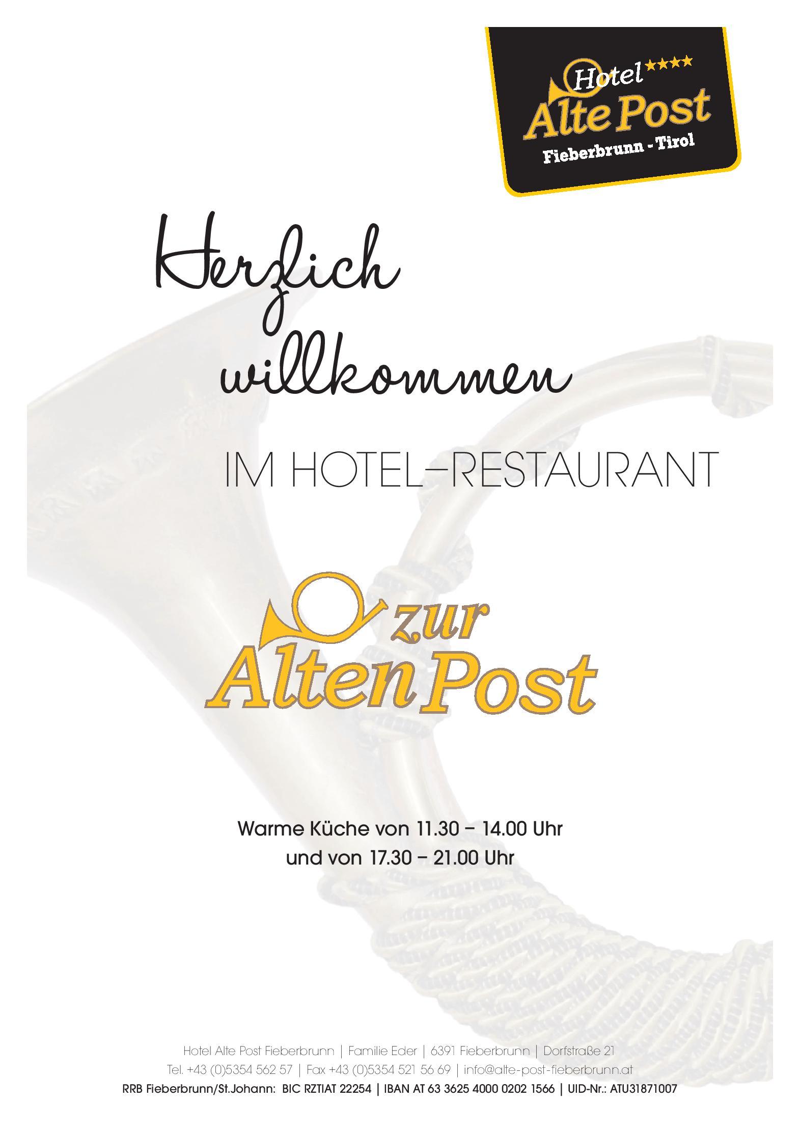 Speisekarte Restaurant Hotel Alte Post Eder Johann Gmbh In Fieberbrunn Osterreichgourmet