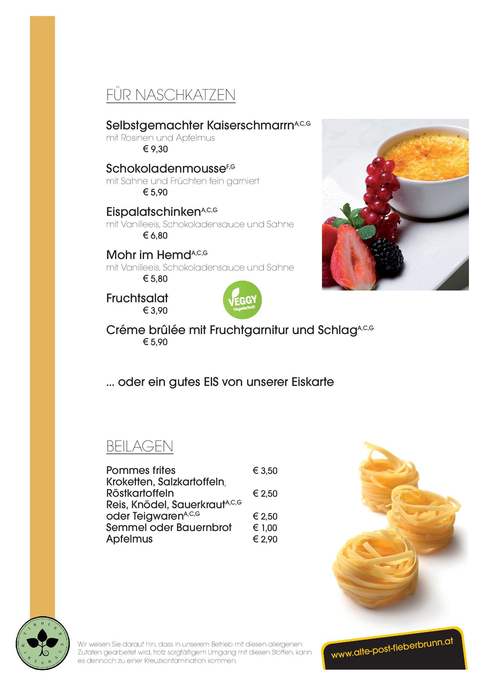 Hotel Alte Post Fieberbrunn Speisekarte