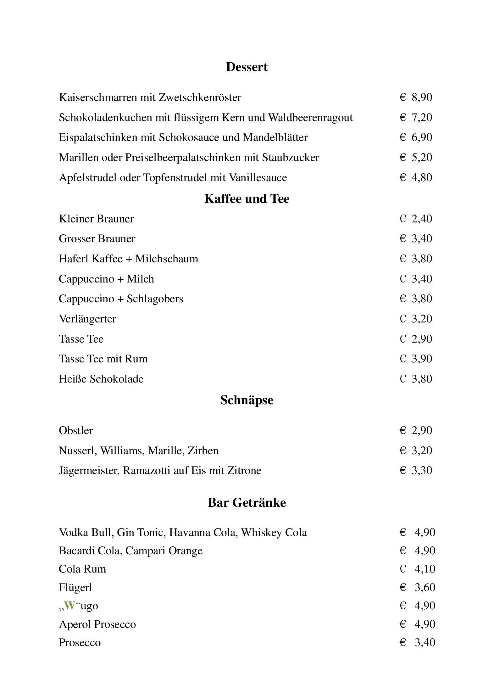 Speisekarte - Restaurant Gasthof Wastlwirt in Salzburg ...